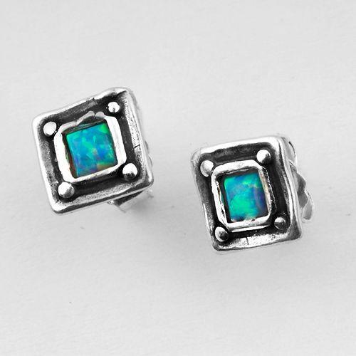 E00835OP SHABLOOL ISRAEL Blue Fire Opal 925 Sterling Silver Square Stud Earrings #Shablool #Stud