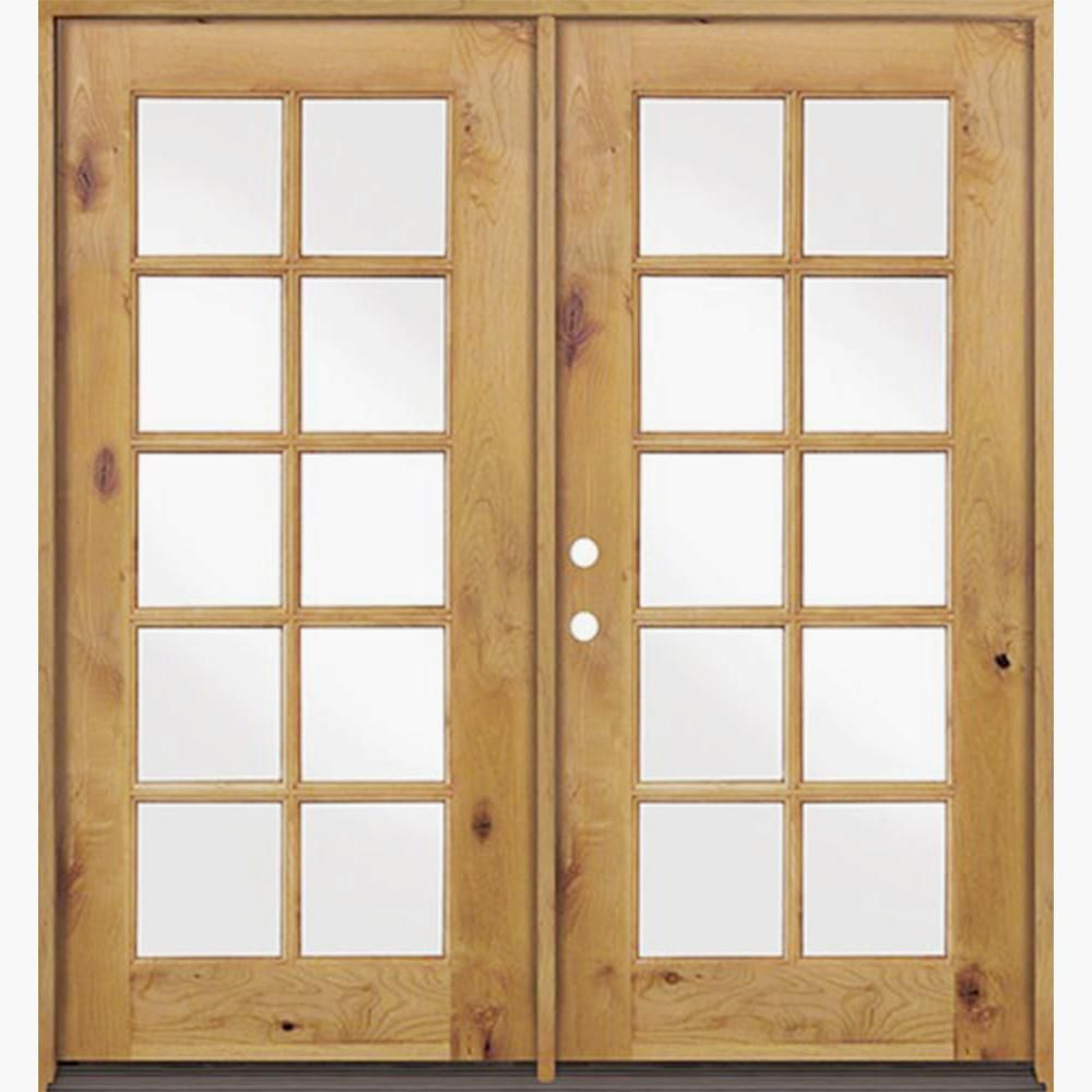 Krosswood Doors 72 In X 80 In French Knotty Alder 10 Lite Clear Glass Clear Stain Wood Left Active Inswing Double Prehung Front Door Clear Glass Double Doors Exterior Knotty Alder