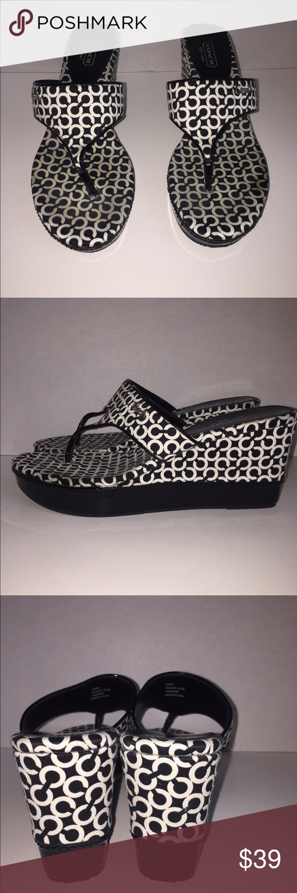 22208f53ae4c Coach Wedge Thong Sandals Felecia style. Excellent used condition. No holes  rips or stains. Smoke free and pet free home. Coach Shoes Wedges