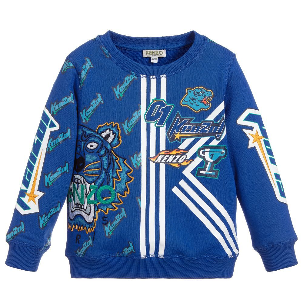 fbdc7f8e7 Boys bright blue Kenzo Kids sweatshirt, made in soft and stretchy cotton  jersey. It has the brand's iconic Tiger logo embroidered on the front, ...