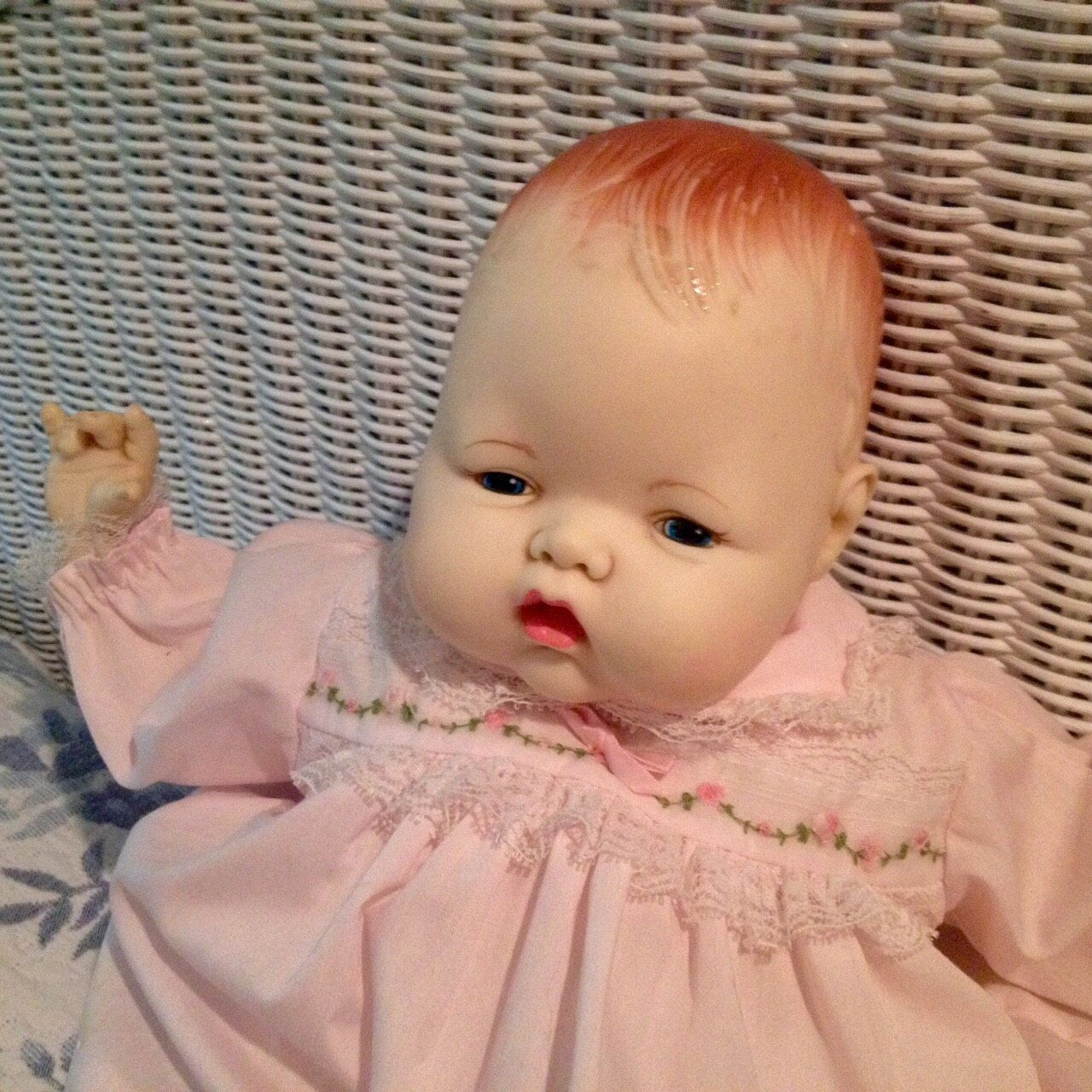 Pretty Vintage, Ideal Thumblina Baby Doll by Beyondthegardenwall on Etsy https://www.etsy.com/listing/216304712/pretty-vintage-ideal-thumblina-baby-doll