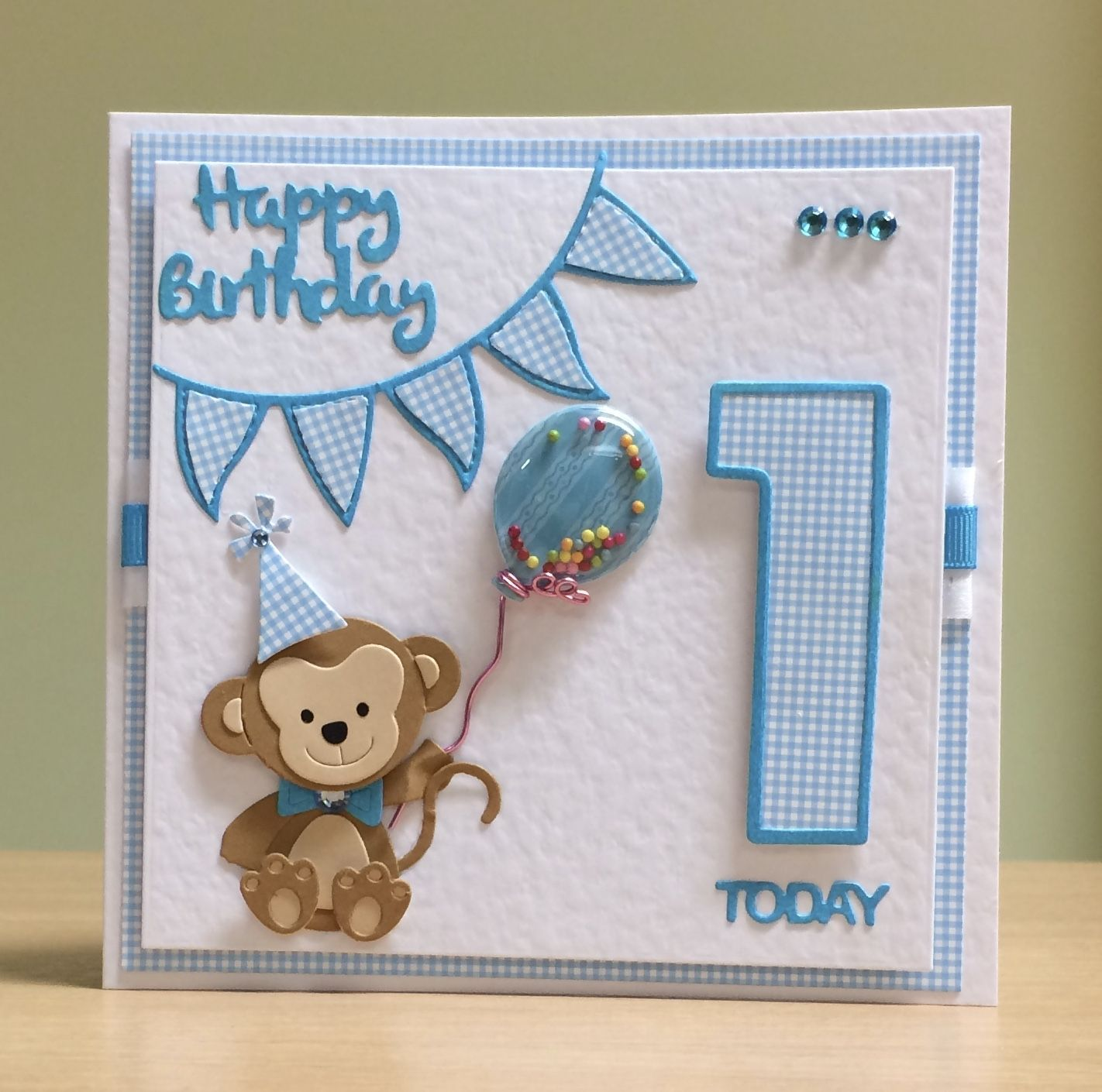 First Birthday Card Handmade Cottage Cutz Monkey Die Tonic Number Die For More Of My Cards Pl First Birthday Cards 1st Birthday Cards Baby Birthday Card