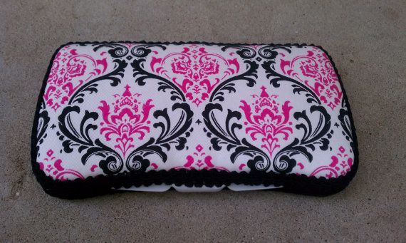 Pink and Black Damask Wipe Case- Free Personalization. $10.00, via Etsy.