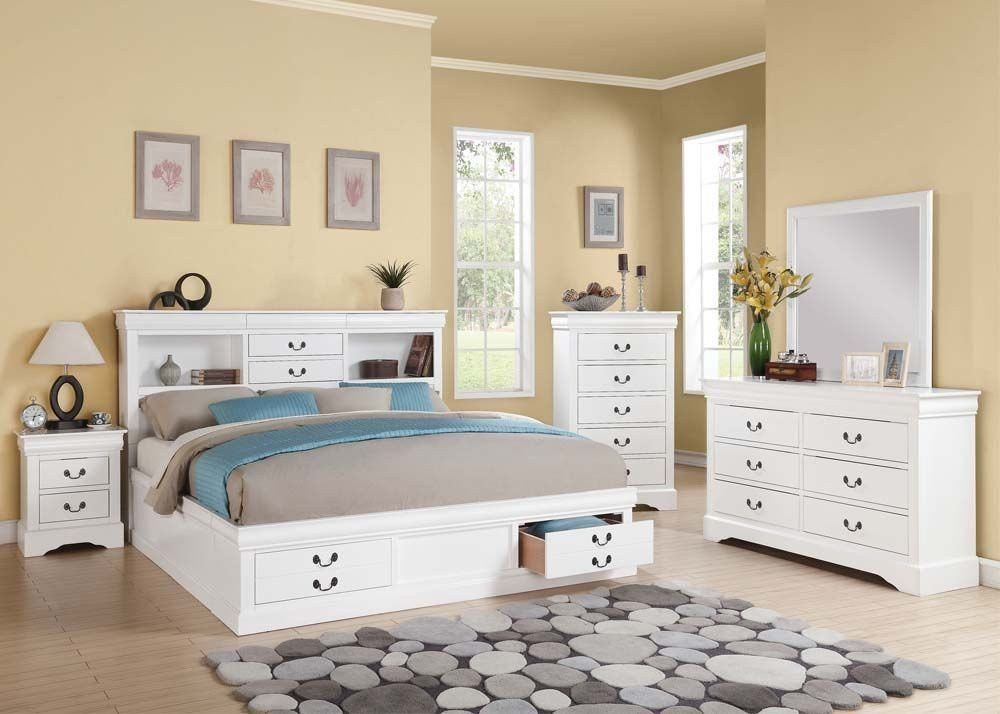 ACME Louis Philippe III California King Bed wStorage White