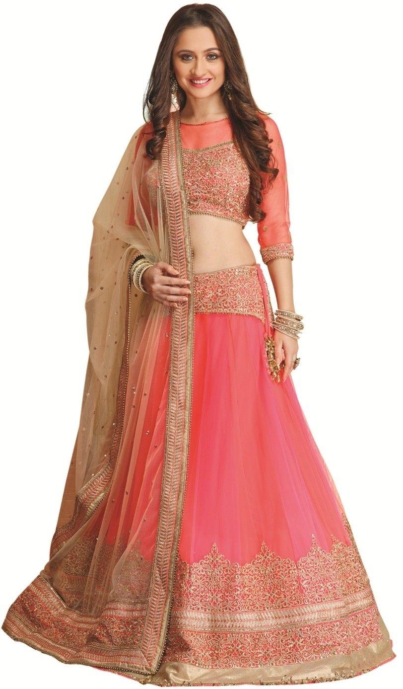 e188b0325f Meena Bazaar Self Design Women's Lehenga Choli - Buy Neon Pink Meena Bazaar  Self Design Women's