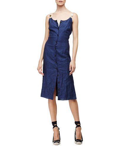 Sleeveless Button-Front Patio Dress, Navy