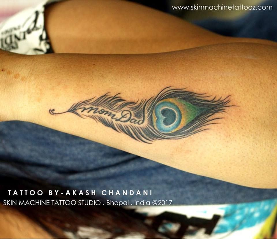 Tattoo Designs Krishna Name: Peacock Feather Mom Dad Jai Shri Krishna Custom Tattoo By