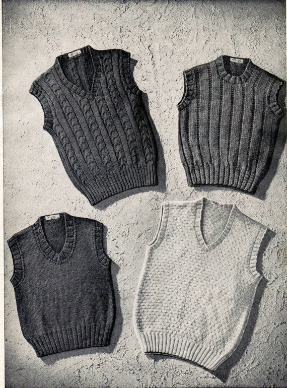 1b54848c3 An adorable set of 4 knitting patterns for boys sleeveless sweaters from  the 1940s. You will receive a PDF knitting pattern for the four sleeveless  ...