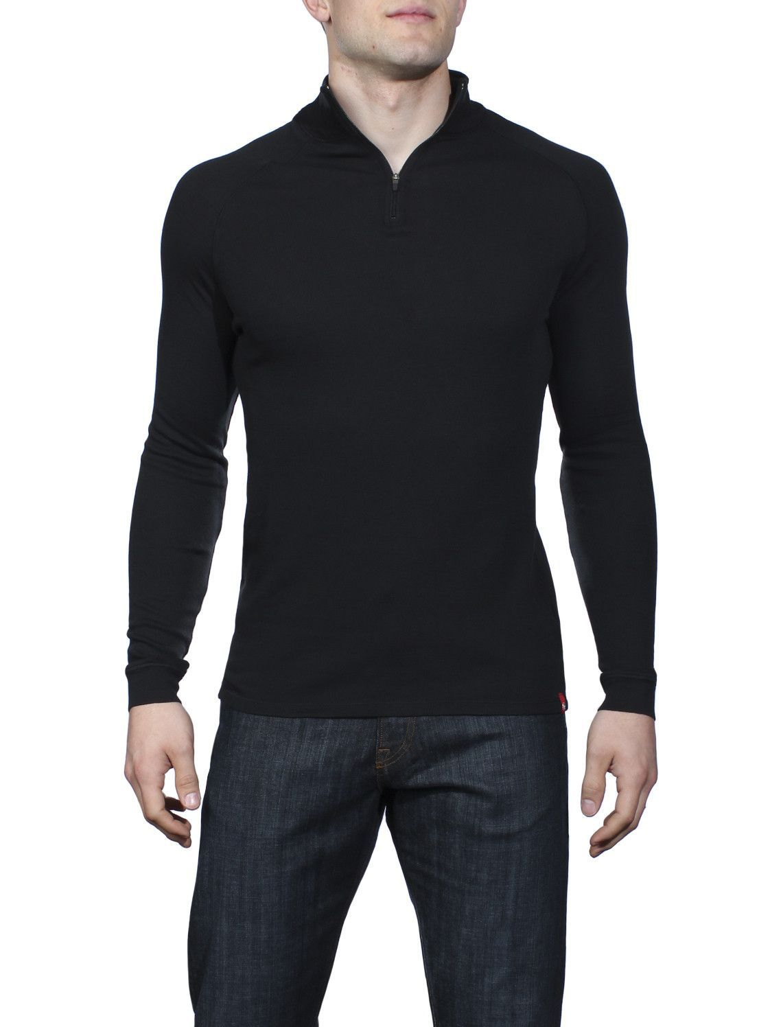 Agave Matney Supima Thermal Zip Mock Neck Sweater