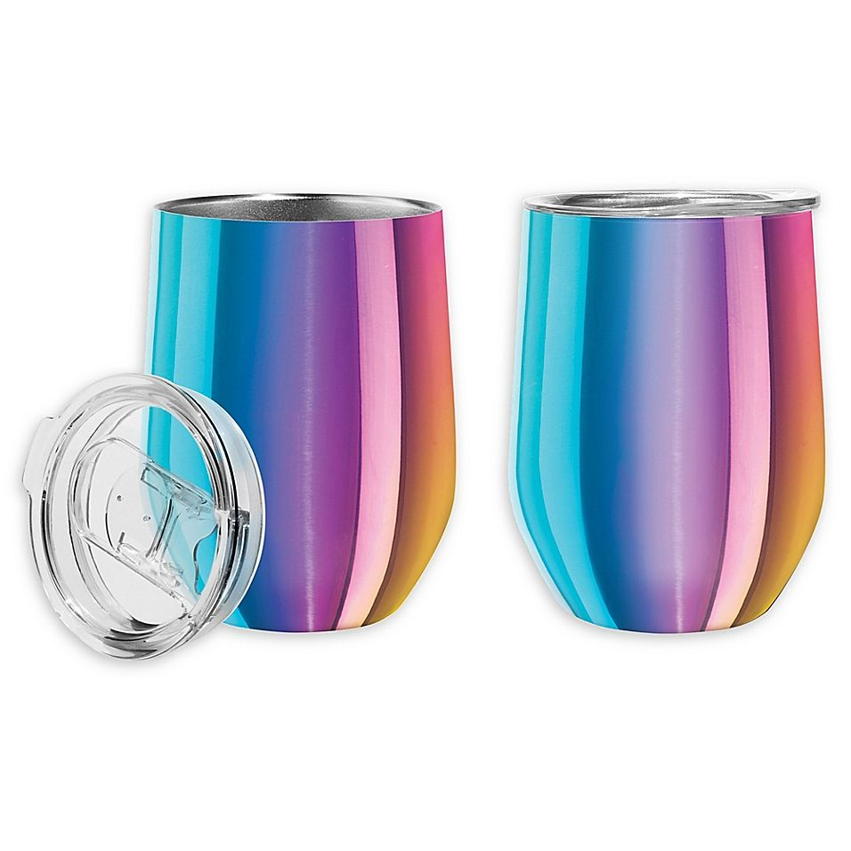 Oggi Cheers Stainless Steel Wine Tumblers In Rainbow Set Of 2 Tumbler