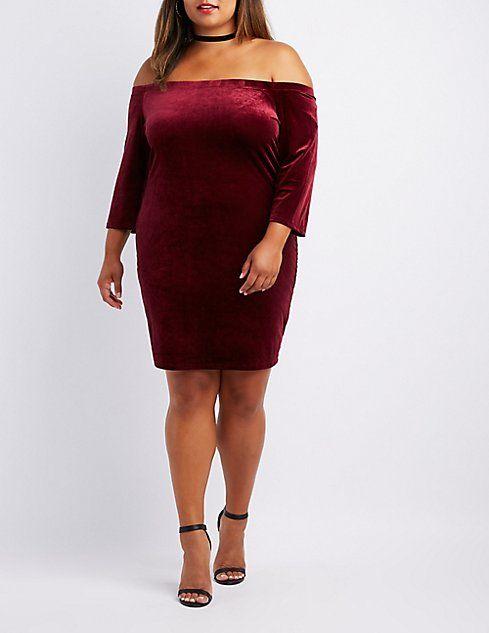 a2b4db6e065 Plus Size Velvet Off-The-Shoulder Bodycon Dress