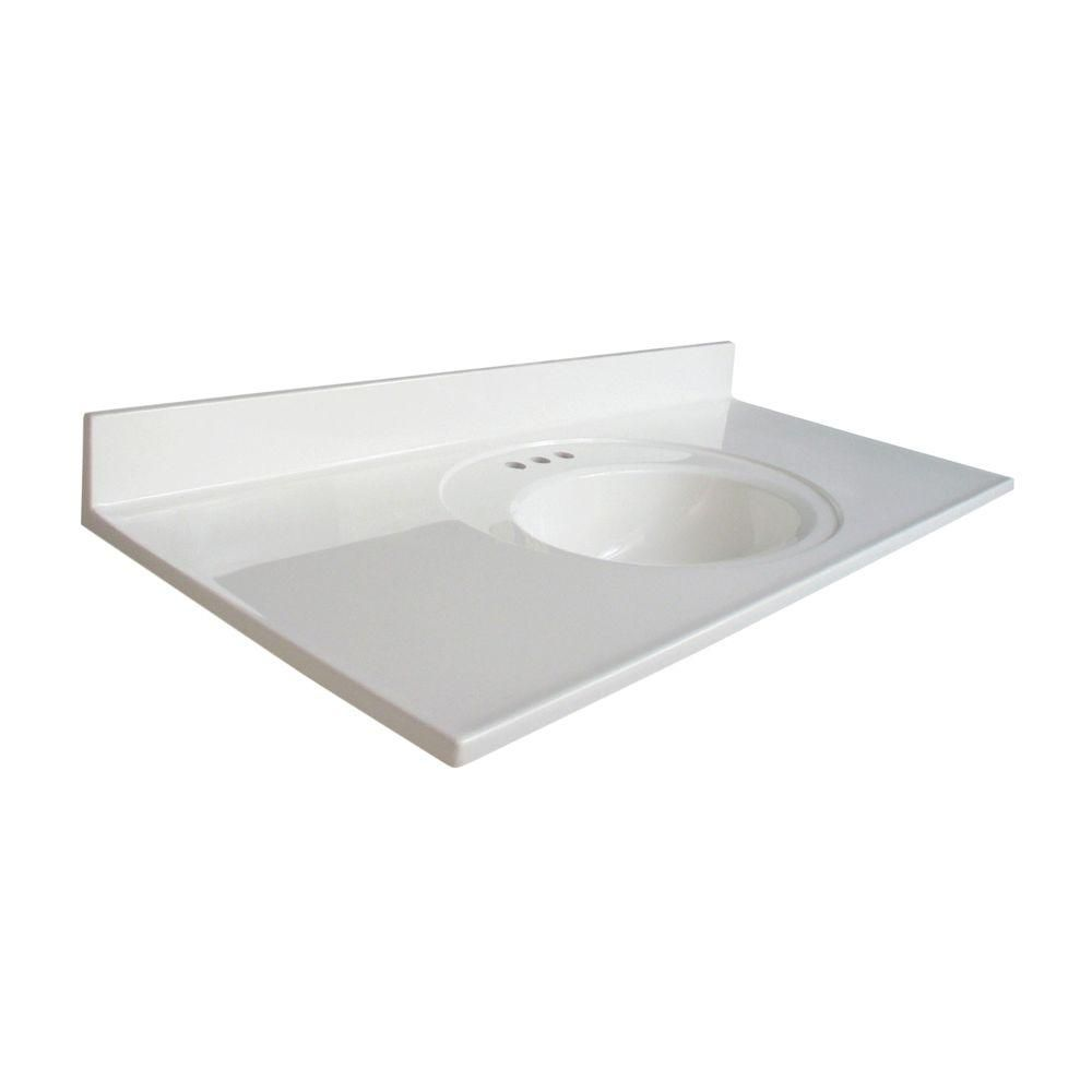 Glacier Bay Newport 49 In W X 22 In D Cultured Marble Vanity Top In White With White Sink N4922gb W The Home Depot Cultured Marble Vanity Top Vanity Top Cultured Marble