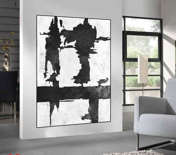 life wave original painting canvas wall art black and white painting on canvas original abstract a