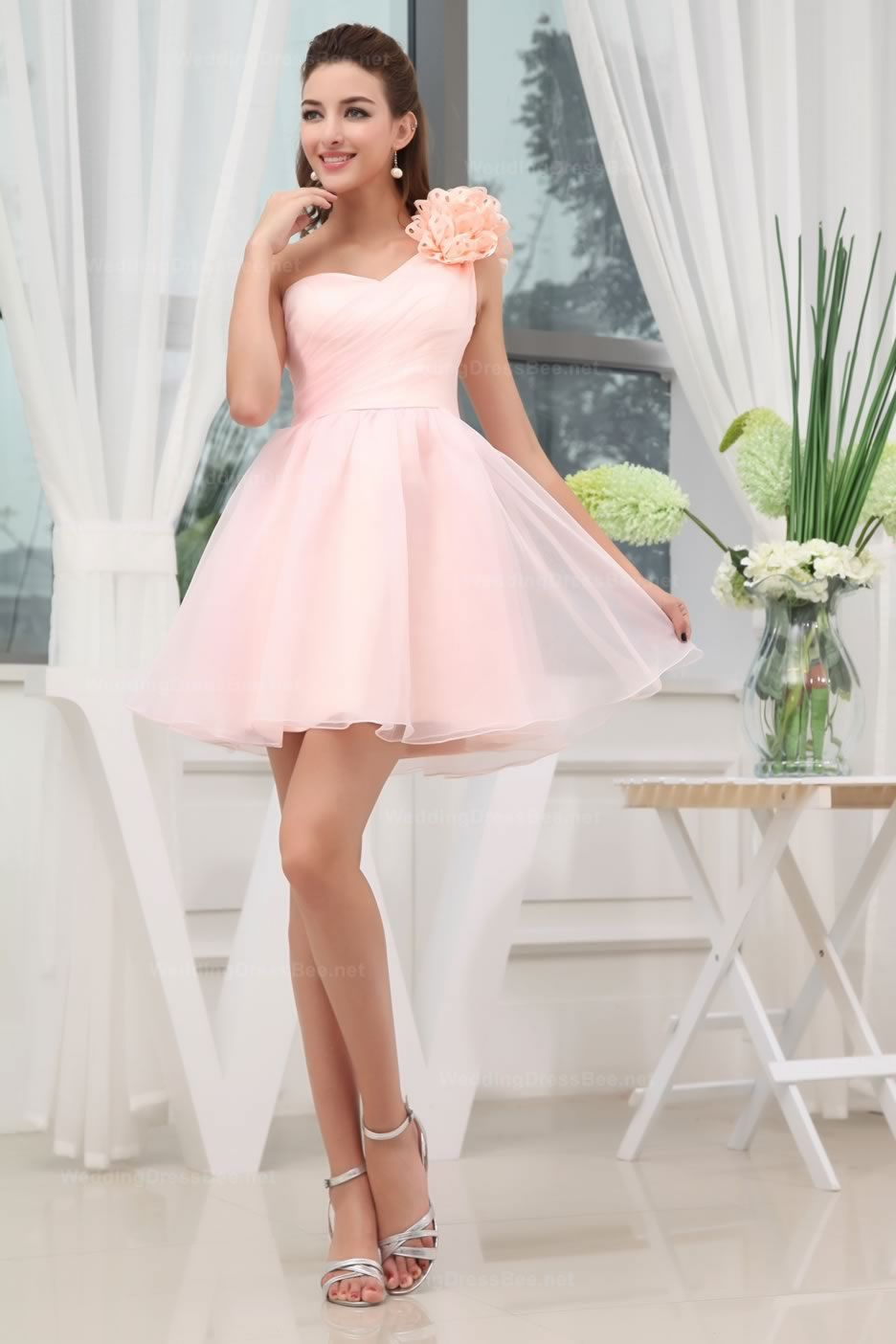 1b1c25e002 One Shoulder Fully Pleated A-Line Organza Short Length Prom Dress ...
