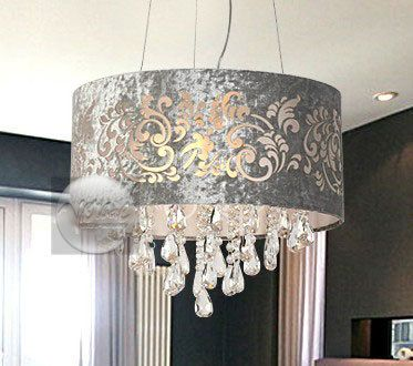Silver Drum Shade Crystal Ceiling Chandelier Pendant Light Fixture