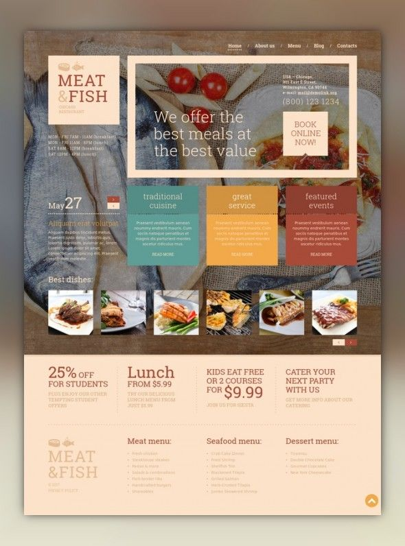Meat Fish Restaurant WordPress Theme Pinterest Wordpress - Restaurant template wordpress