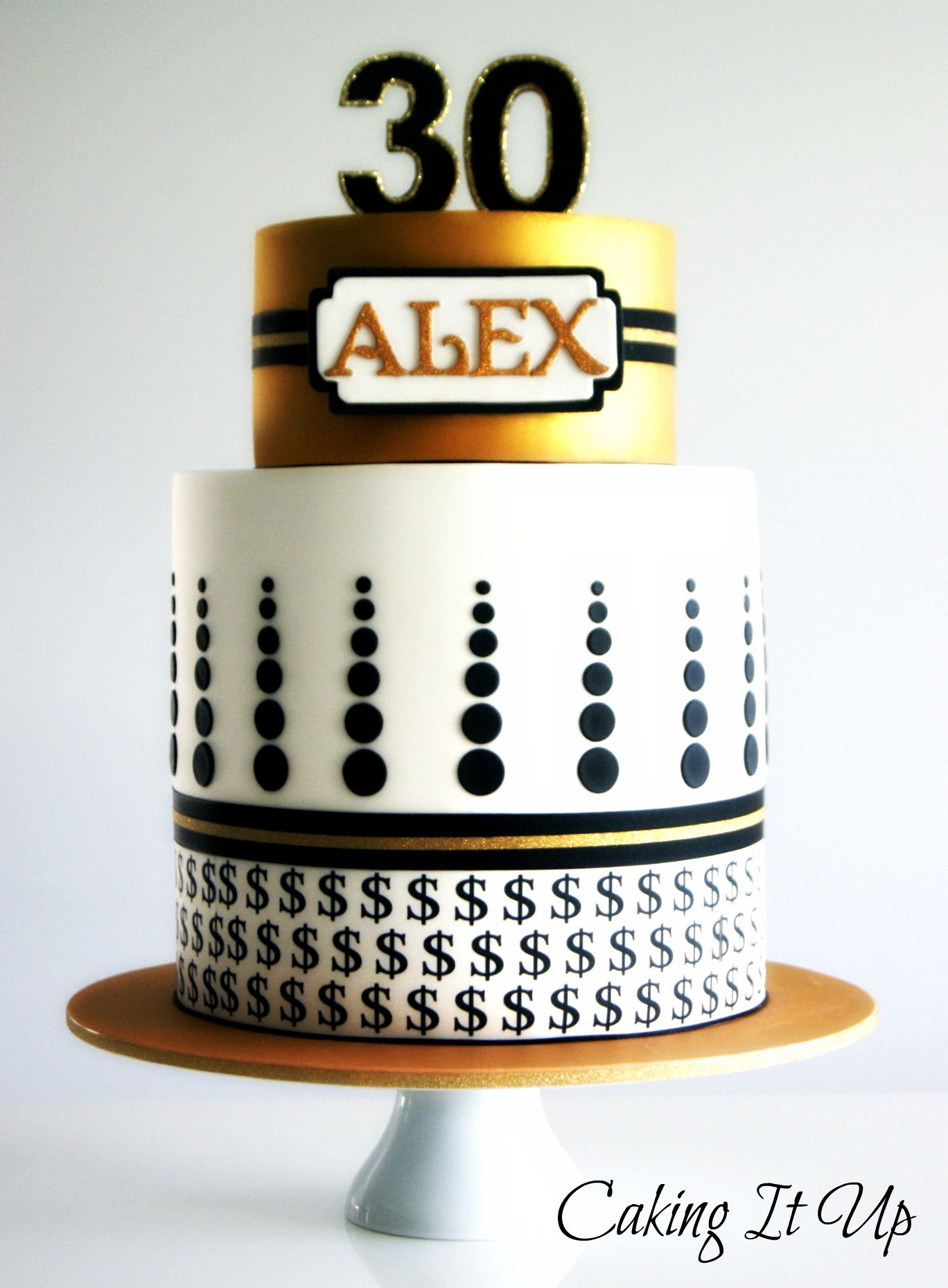 Geometric Money Themed 30th Birthday Cake Www Facebook Com