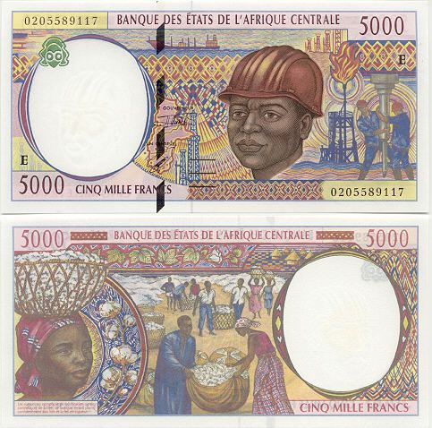 Cameroon 5000 Francs 2002 -  Map of Central African States; labourer; riggers; oil rigs; gathering cotton.