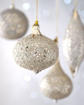 champagne frost gilded snowflake christmas ornaments at neiman marcus