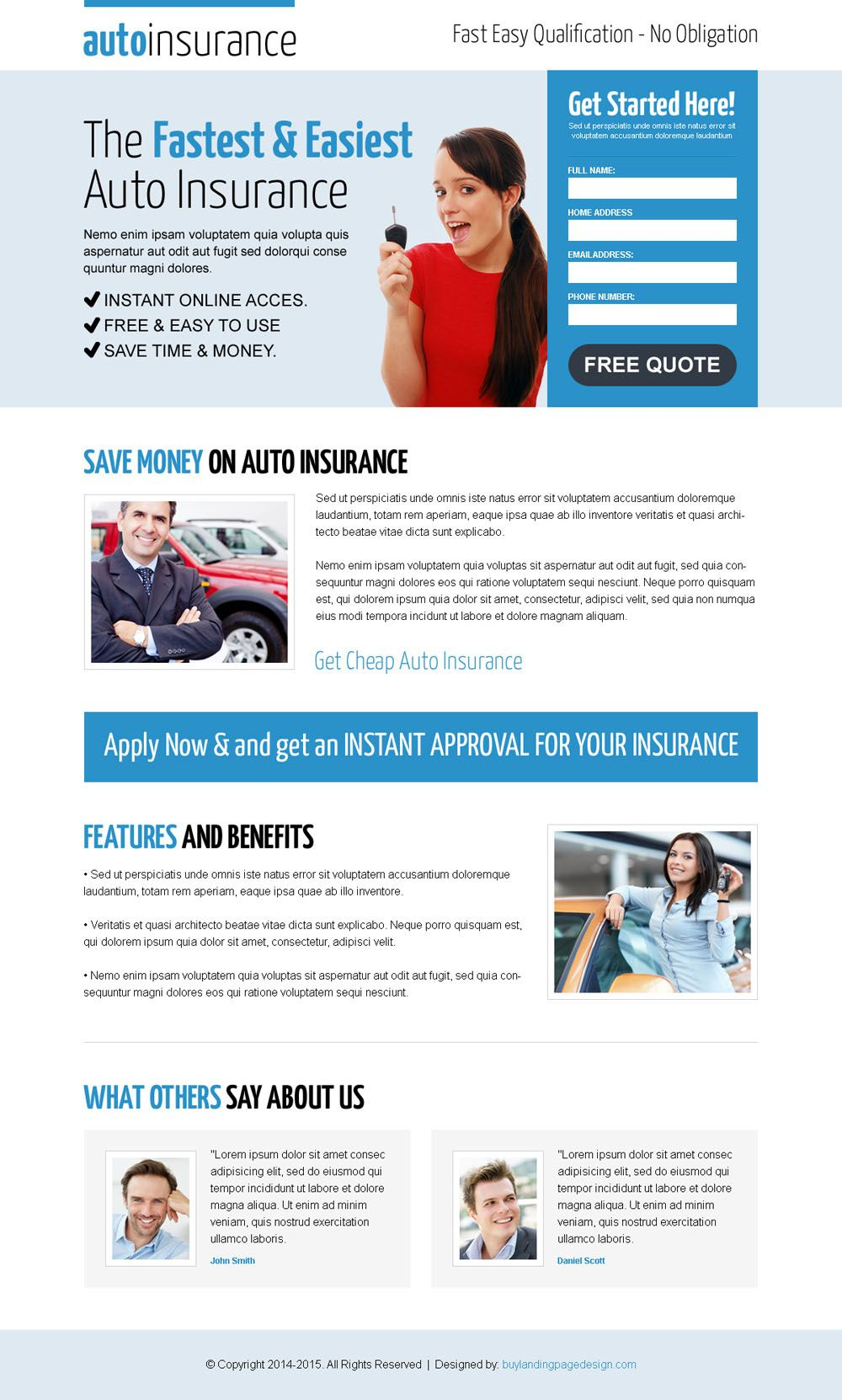 Instant Insurance Quote Clean And Effective Instant Auto Insurance Responsive Lead Capture