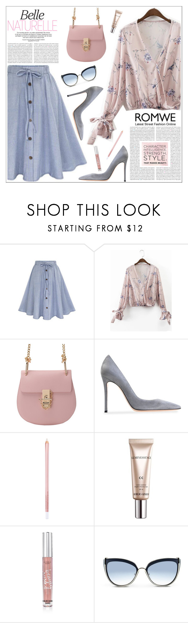 """""""ROMWE: Light Pink Floral Print Wrap Blouse With Bow Tie"""" by tamara-p ❤ liked on Polyvore featuring Gianvito Rossi, Oris, CC, Victoria's Secret and Karl Lagerfeld"""