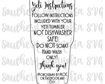 Tumbler Cup Care Card Instructions - Print and Cut File