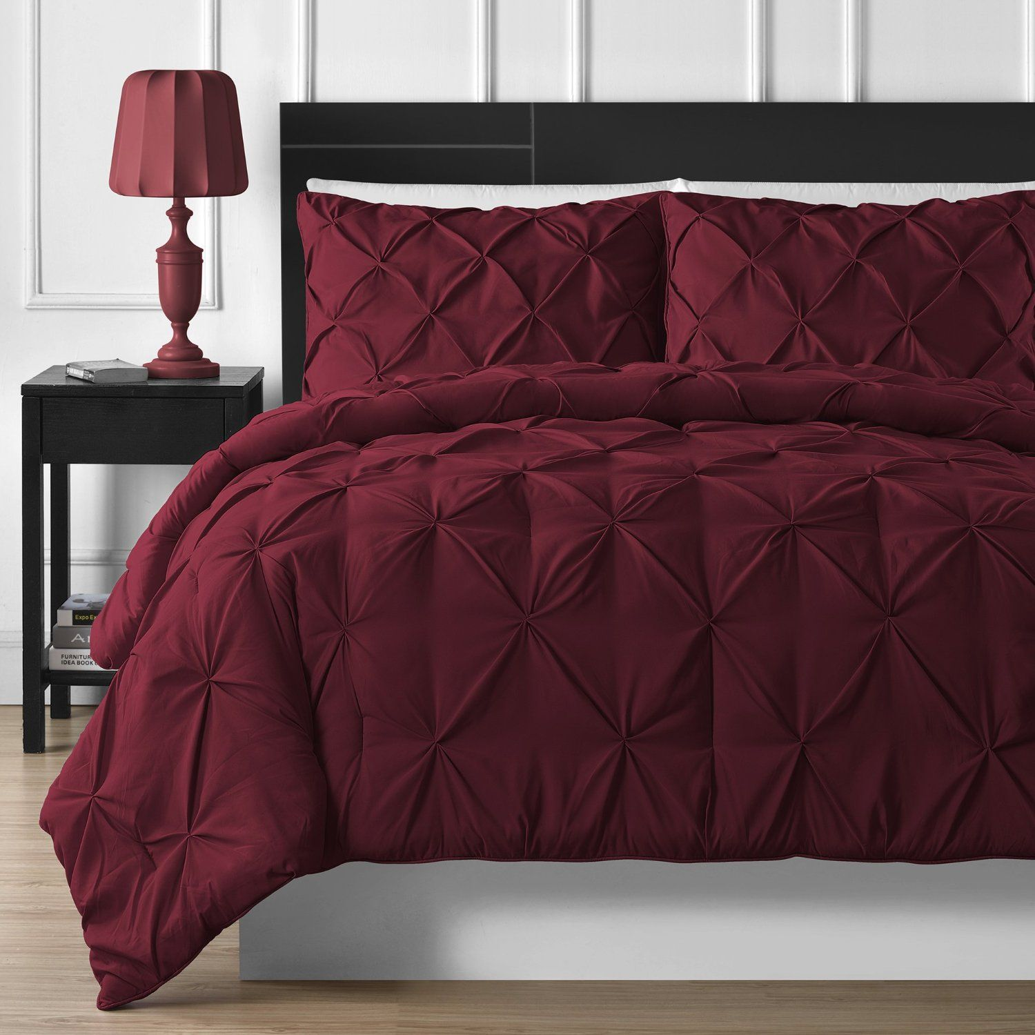 P&R Bedding 3 Piece Luxurious Pinch Pleat Comforter Set