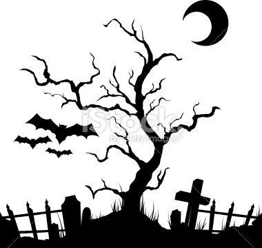 Black Halloween Halloween Silhouetten Halloween Venster Halloween Bomen