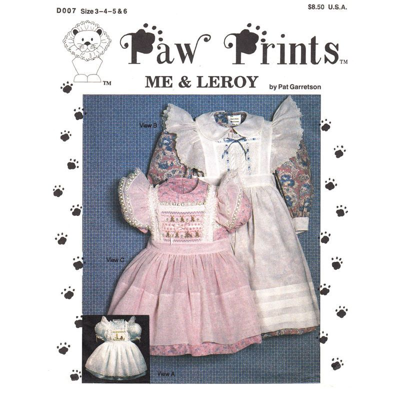 Girls Heirloom Dress and Pinafore Pattern Paw Prints D007 Puff ...