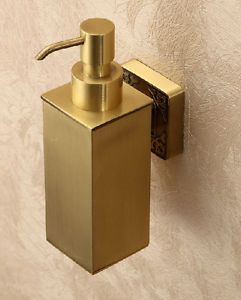 Euro Style Brass Color Bathroom Wall Mount Soap Dispenser Soap