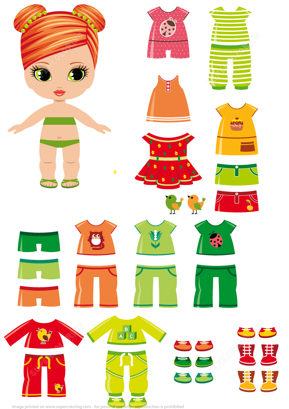 Zany image within printable dress up paper dolls