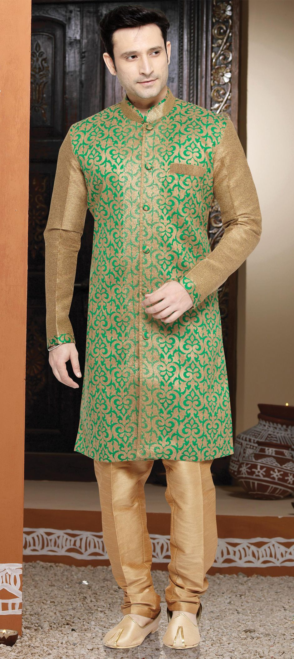 beige and brown color family stitched indowestern dress