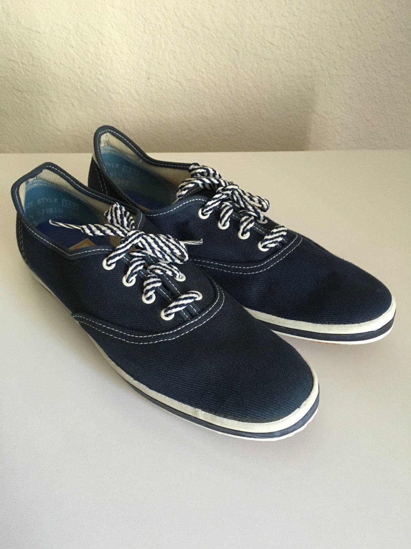 ef9d9773542de Vintage Shoes Women's 70's Unworn Canvas Sneakers, Navy Blue, Lace ...