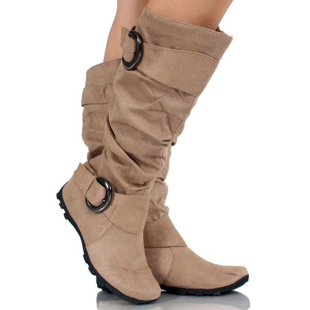 Tan Suede Buckle Slouch Scrunch Cute Flat Womens Knee High Boots ...