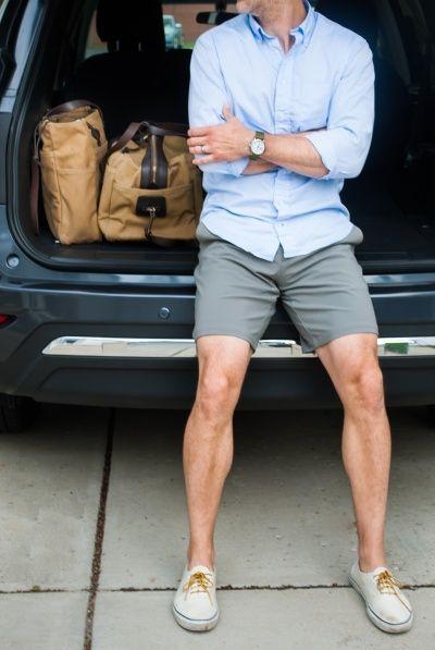 Men's Light Blue Long Sleeve Shirt, Grey Shorts, White Plimsolls ...