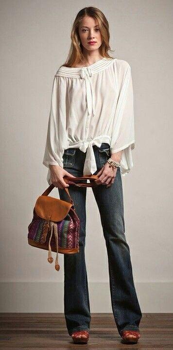 8f125a147 Jean blusa hippie   blusas....blancas...   Moda, Conjuntos de ropa ...