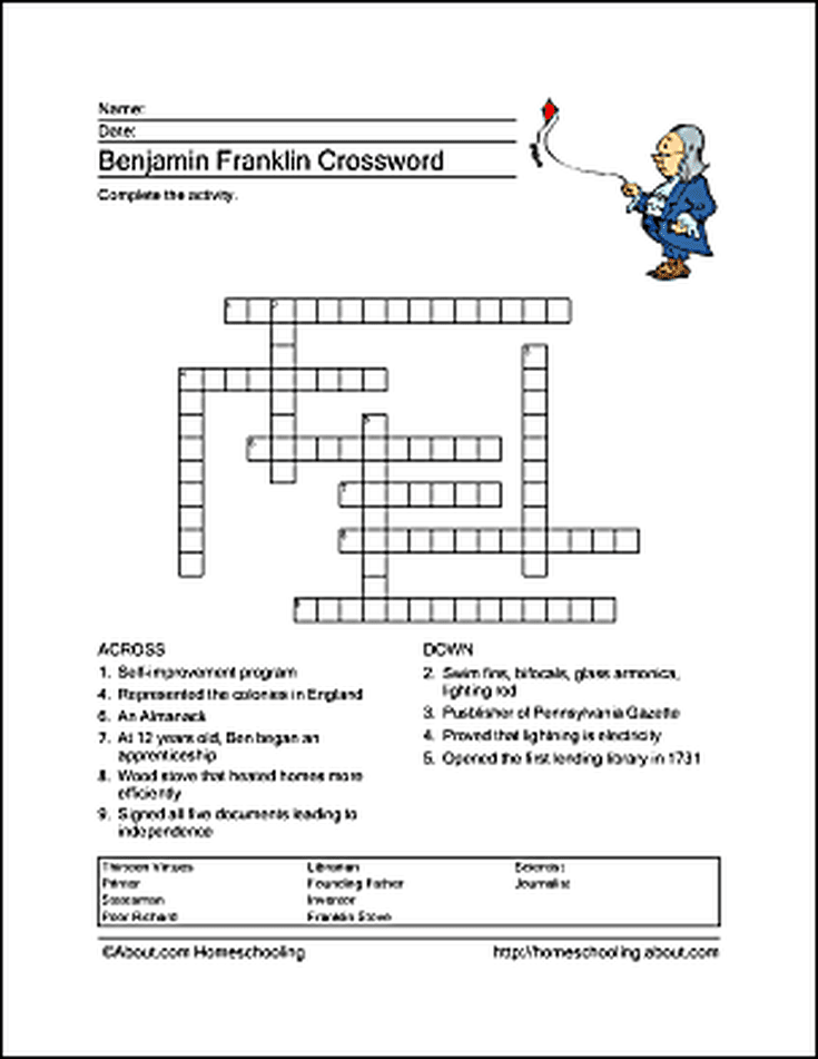 Benjamin Franklin Word Search, Crossword Puzzle and More | Work ...