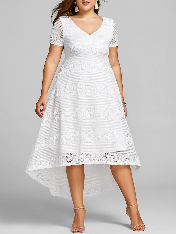 Plus Size High Low Lace Party Dress Lace Party Dresses Midi Dress Summer Big Size Dress [ 1330 x 1000 Pixel ]