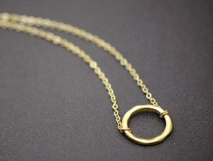 6aa3e62fbfbcc1 ring necklace. ring necklace Interlocking Circle Necklace, Gold ...