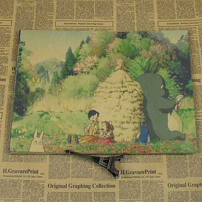 Vintage Cartoon Anime Hayao Miyazaki Totoro Spirited Away Poster Cafe Kid Home Decor Retro Kraft Paper Wall Sticker 21x30cm