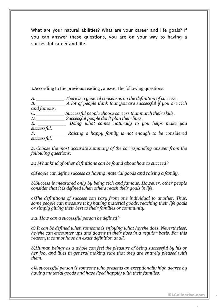 Reading Comprehension What Makes People Succesful Worksheet Free Esl Printable Workshe Reading Comprehension Reading Comprehension Worksheets Comprehension [ 1079 x 763 Pixel ]
