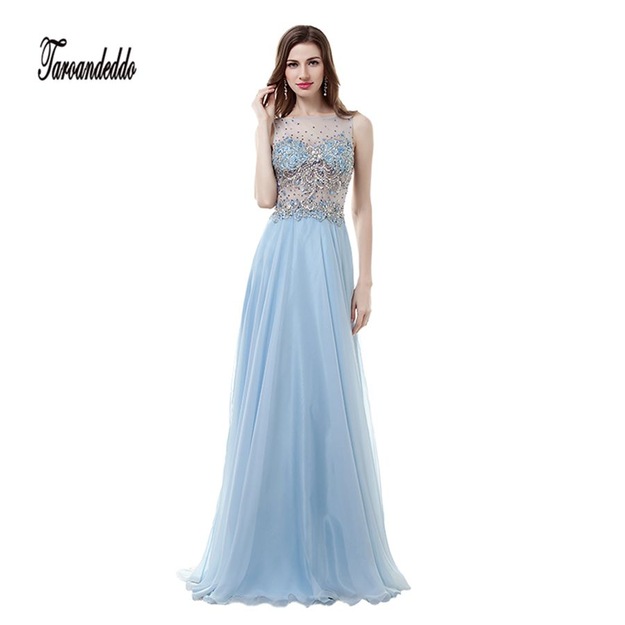 See Through Hand Beading Blue Chiffon A line Prom Dress Illusion ...