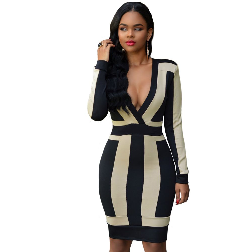 Black v neck long sleeve slim bodycon dress gowns and dress ideas