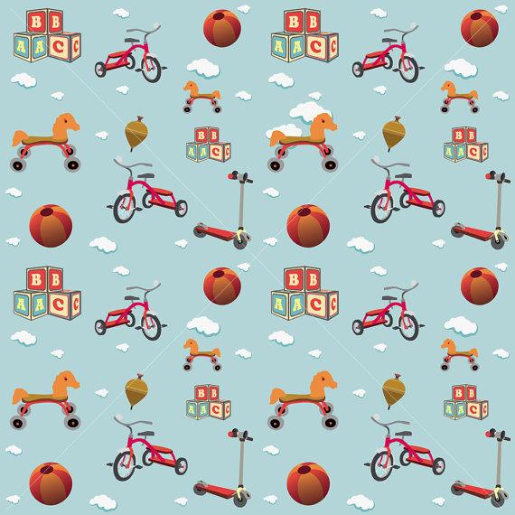 Kids Toys Pattern Wallpaper V2 By DADARTDESIGN On Etsy 1200