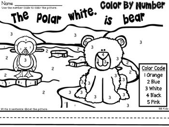 Color By Number Polar Animals / Winter Theme {Color and