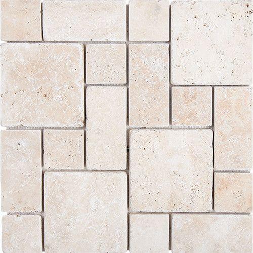 Roman Pattern Tumbled Random Sized Stone Mosaic Tile In