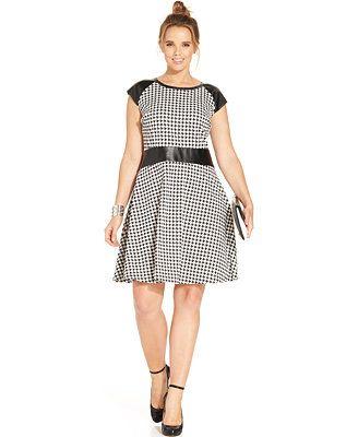Spense Plus Size Faux-Leather-Trim Houndstooth-Print Dress