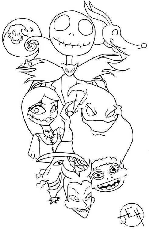 Nightmare Before Christmas Coloring Pages For Kids | kids art ...