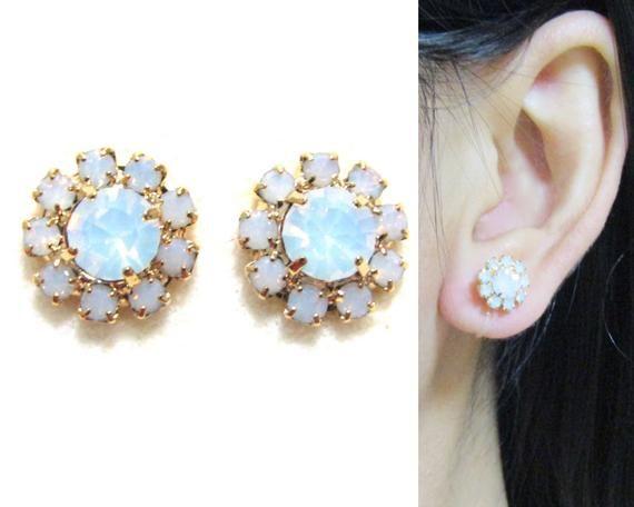 Milky Opal Cer Rhinestone Clip On Earrings D6 Crystal Stud Wedding Bridal