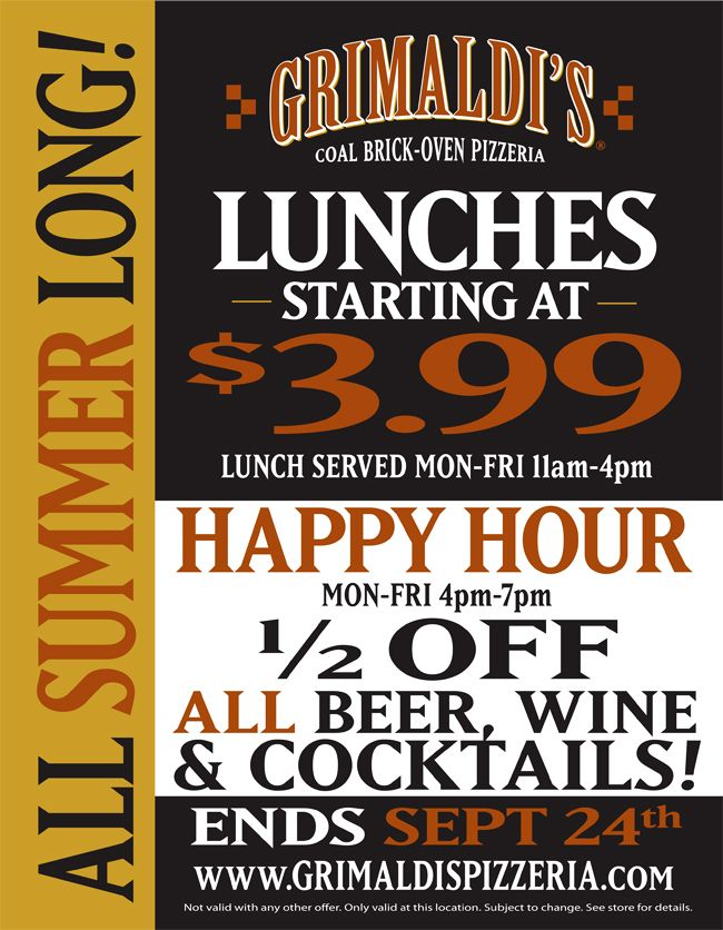 Grimaldi 39 S Pizzeria Lunch Happy Hour Specials In Tampa Bay And Clematis West Palm Beach If